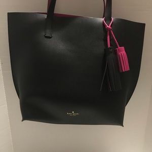 Kate Spade Leather Black/Fuschia Handbag Tote Bag